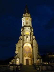 Vista nocturna de la Basílica de la Visitación de Annecy