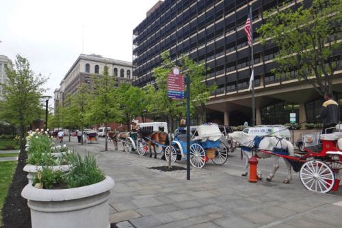 Carruajes de caballos en Chesnut St, frente al Independence Hall de Filadelfia