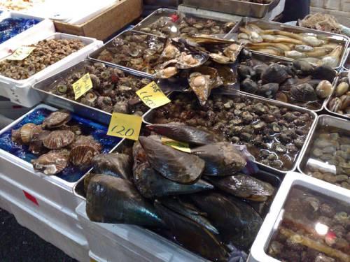 Puesto de mariscos en el Mercado Tsukiji del barrio Chuo