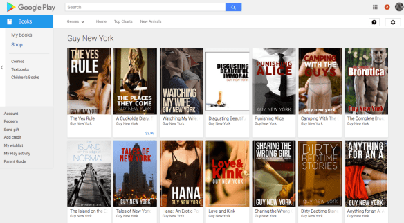 Guy New York erotica in the Google Play Store