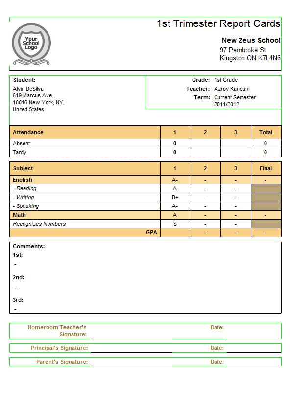 Subject-Specific Criteria for QuickSchools Report Cards School - report card template