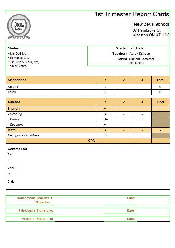 Report Card Template sadamatsu-hp