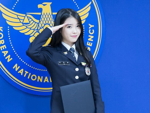 Singer IU honorary Korean police officer   Fashion and Style   Pinterest   Singers and Korean