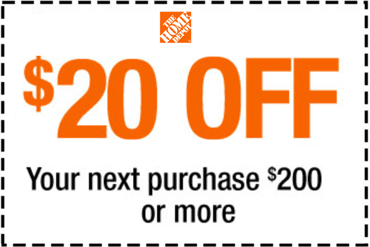 Home Depot Discount Home Depot 20 Off 200 Printable Coupon Delivered