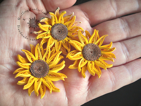 Wall Art 3d Quilled Mini Sunflowers Picture - Framed Paper Art