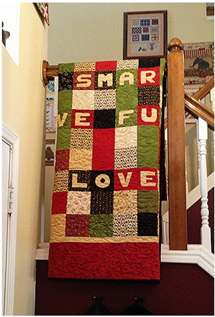 Out the Door text quilt