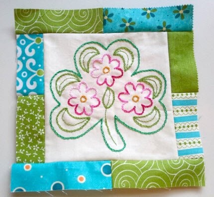 Shamrock and flowers embroidered patchwork