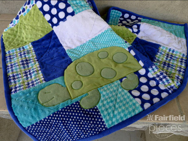 Spotty The Turtle applique makes a plain quilt sing
