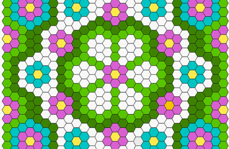 Free diagram: Summer Hexagon Quilt