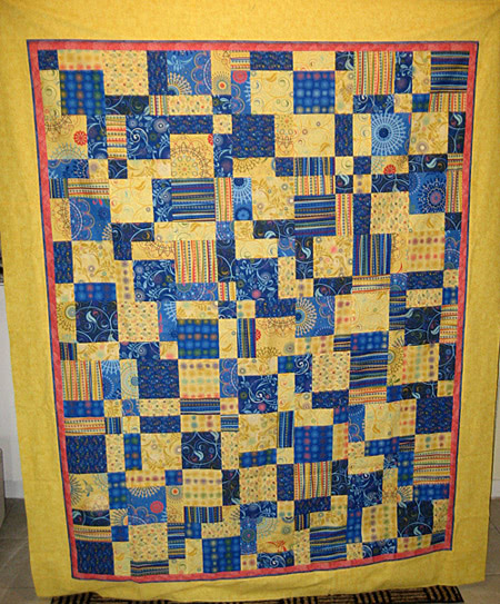 Charm Square Quilt blue-yellow-fun-quilt-top