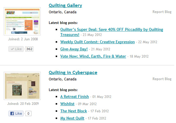 screen shot Quilting Bloggers Directory