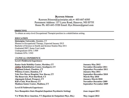 Sample Ot Resume | Resume Format Download Pdf