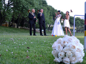 Lawn games and bouquet