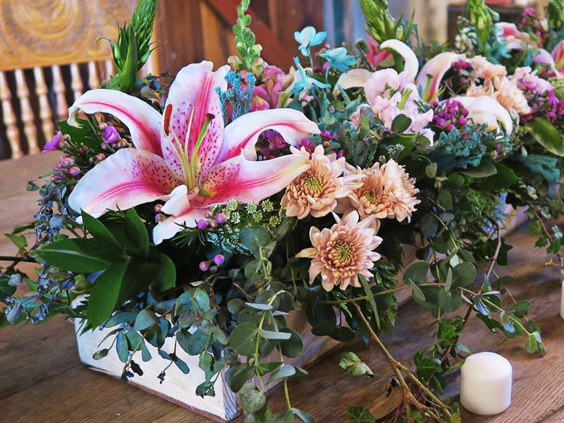 Flowers in rustic box - Quirky Parties