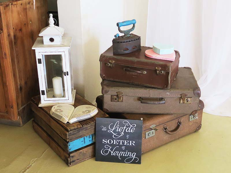 Vintage suitcase display - Quirky Parties