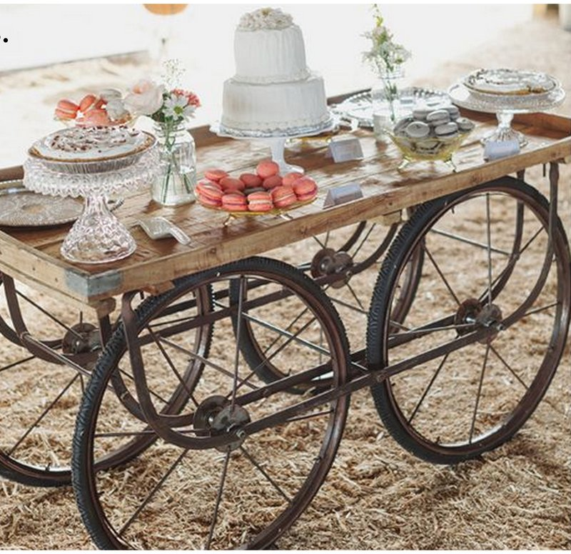 Quirky Parties - Dessert table display on rustic wagon