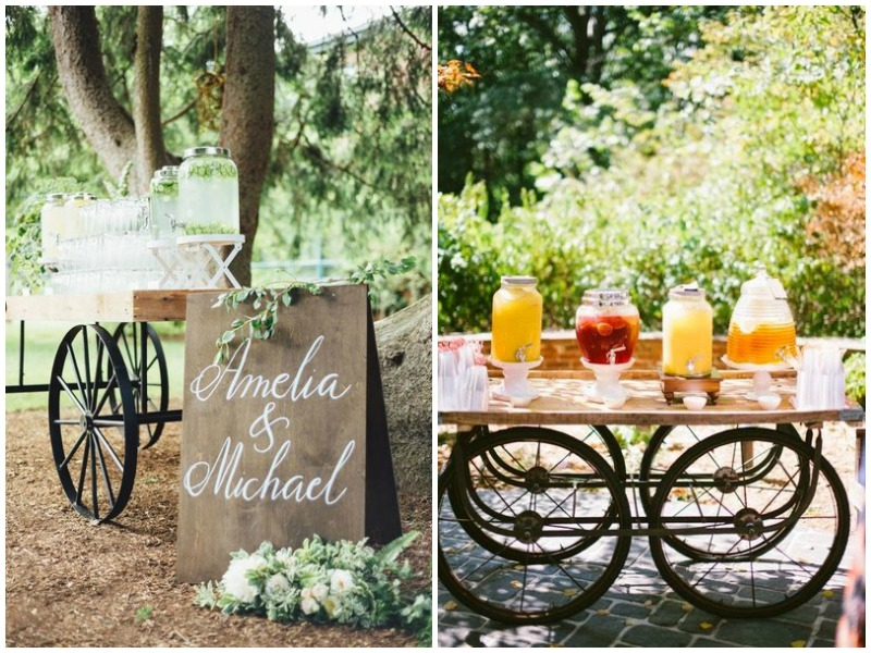 Wagon for wedding welcome drinks - Quirky Parties