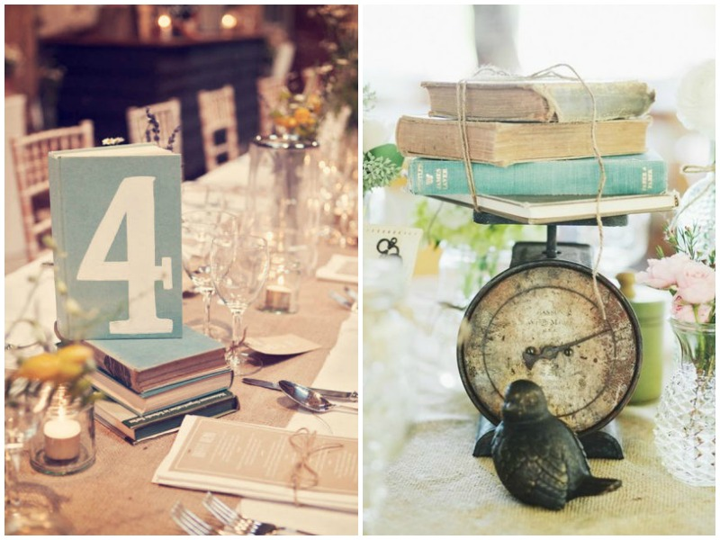 Vintage book centrepiece - Quirky Parties