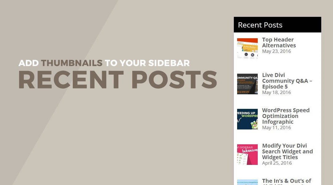 Add Thumbnails To Your Sidebar Recent Post List