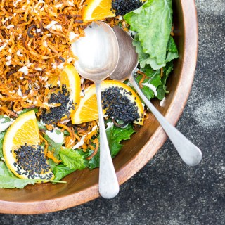 Sweet potato and kale salad with miso cashew dressing.