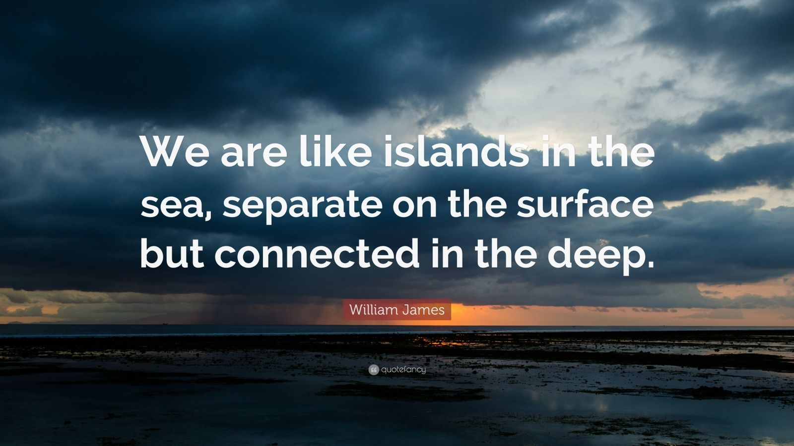Deep Wallpaper Quotes William James Quote We Are Like Islands In The Sea