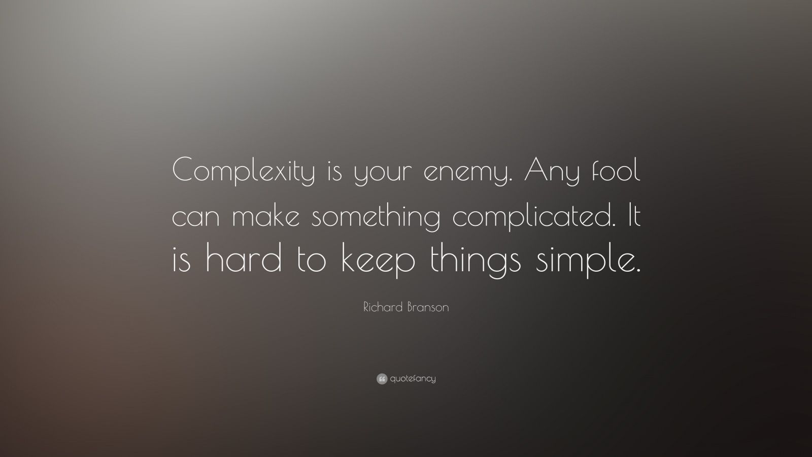 Motivation Business Quotes Wallpaper Hd Desktop Richard Branson Quote Complexity Is Your Enemy Any Fool