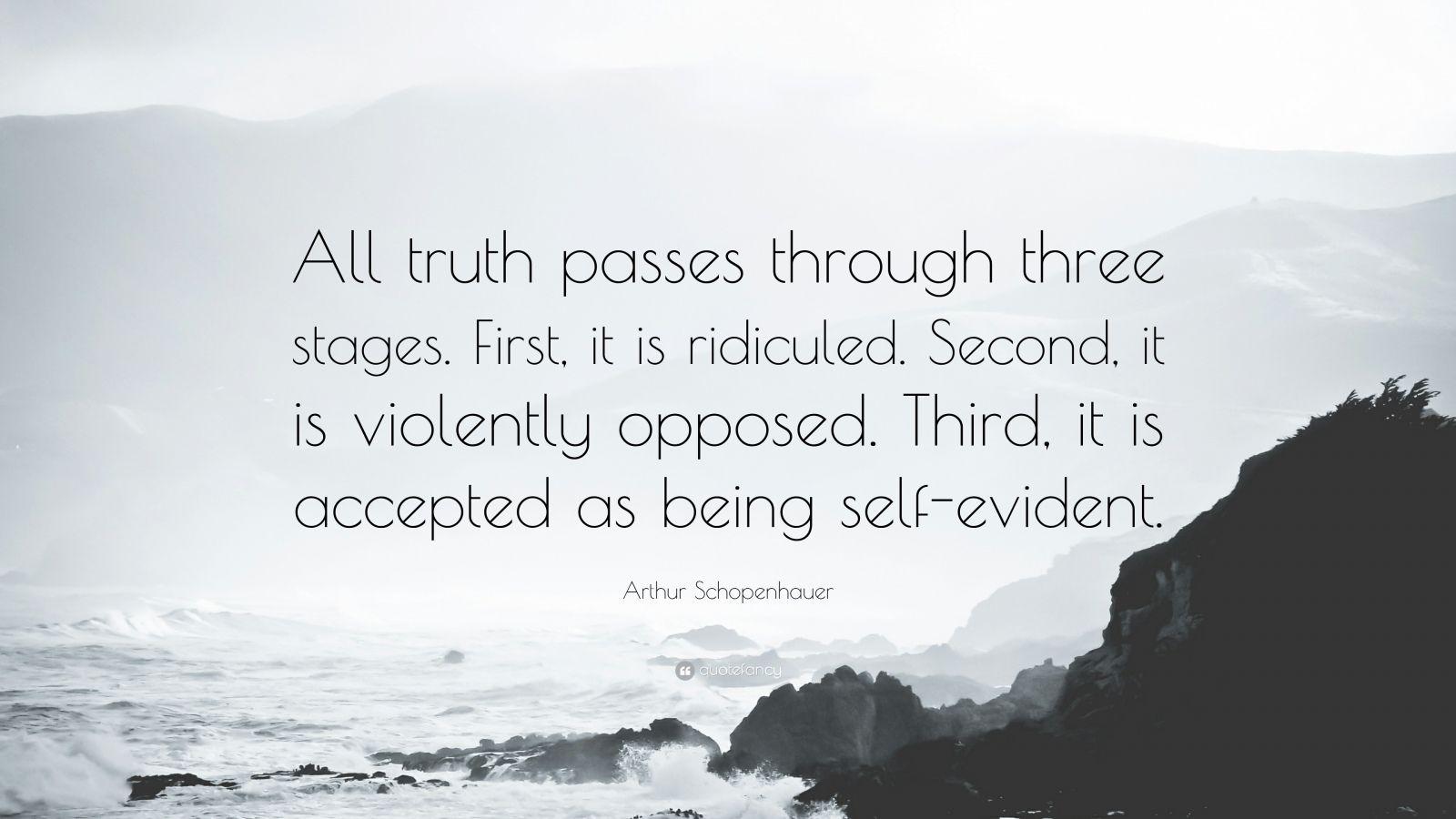Wallpaper Motivational Quotes 42 Arthur Schopenhauer Quote All Truth Passes Through Three