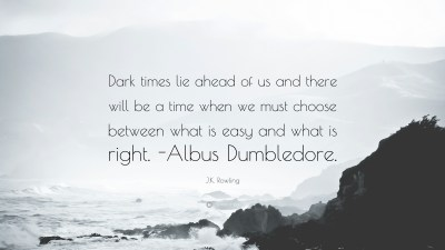"J.K. Rowling Quote: ""Dark times lie ahead of us and there will be a time when we must choose ..."