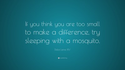 "Dalai Lama XIV Quote: ""If you think you are too small to make a difference, try sleeping with a ..."