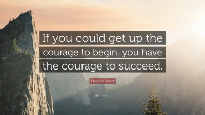 """David Viscott Quote: """"If you could get up the courage to begin, you have the courage to succeed ..."""