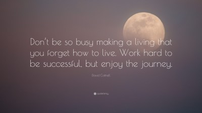 "David Cottrell Quote: ""Don't be so busy making a living that you forget how to live. Work hard ..."