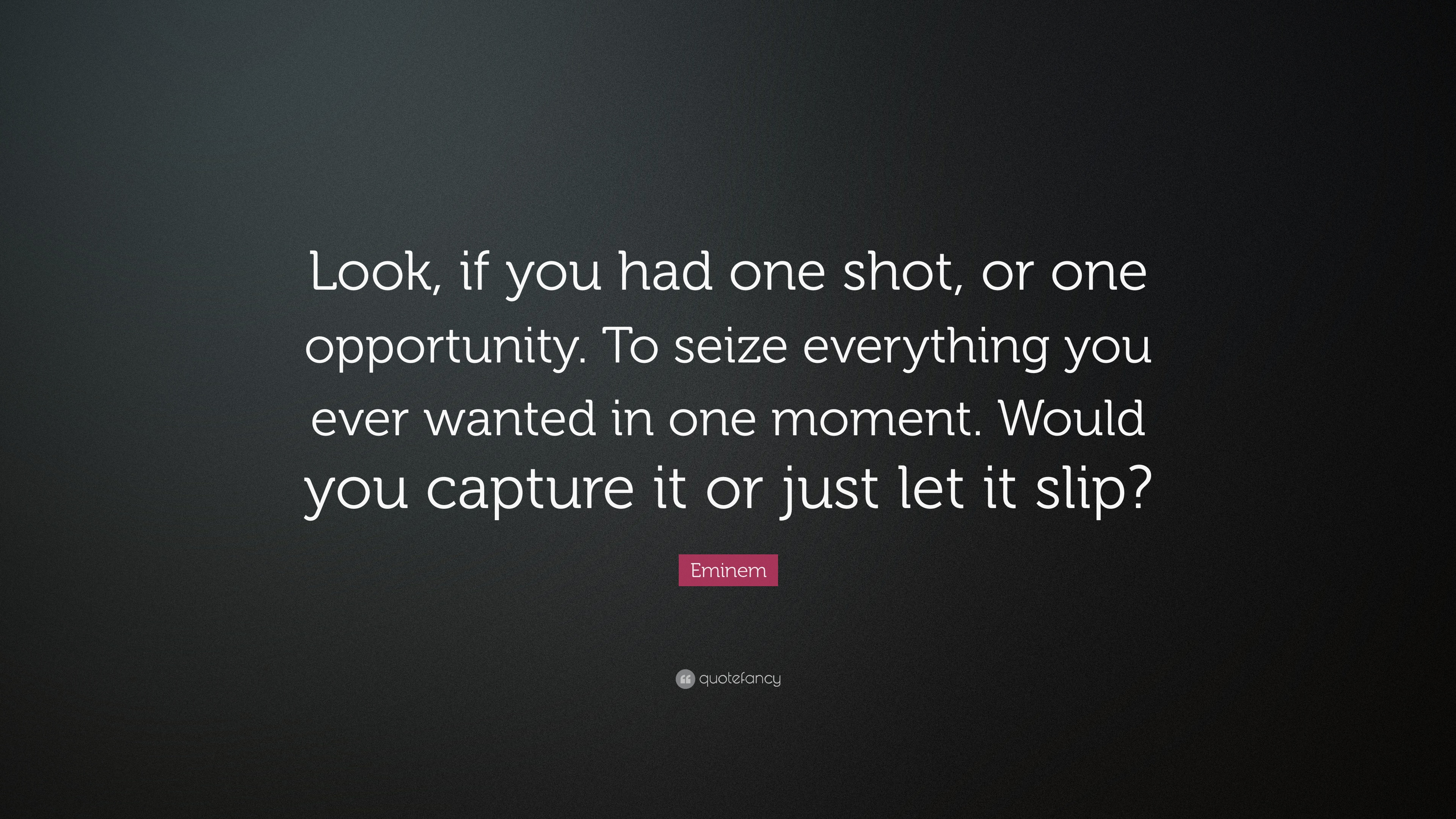 High Definition Motivational Wallpapers Quotes Eminem Quote Look If You Had One Shot Or One