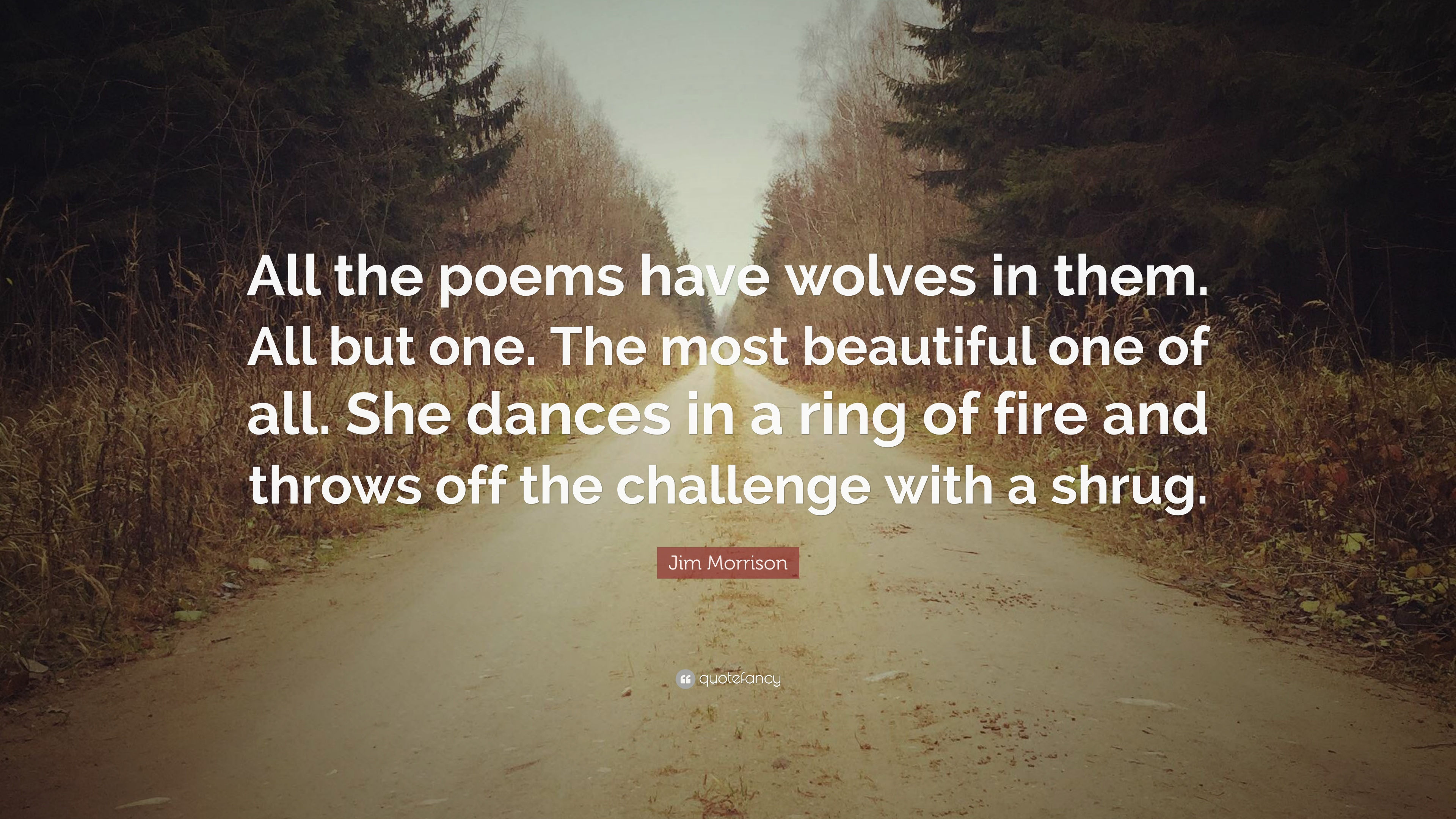 Beautiful One Jim Morrison Quote All The Poems Have Wolves In Them All But