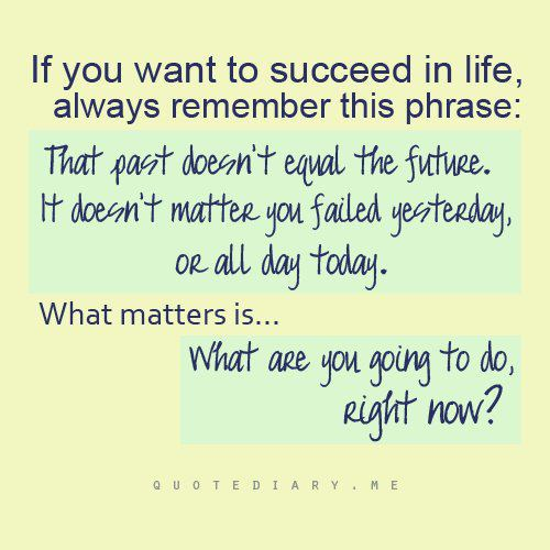 If You Want to Succeed In Life,Always Remember This PhraseThat Past - allday quotes