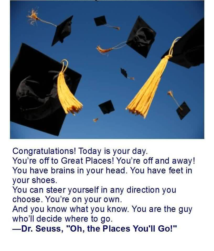Good Graduation Quotes By Dr Seuss ~ Congratulations Today Is Your