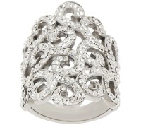 Stainless Steel Crystal Scroll Design Ring - Page 1  QVC.com