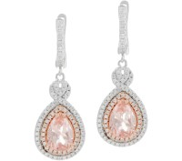 Diamonique and Simulated Morganite Earrings, Sterling ...