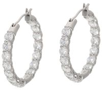 Diamonique 30 Stone Hoop Earrings, Sterling - Page 1  QVC.com