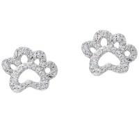Diamonique Paw Print Stud Earrings, Sterling - Page 1 ...