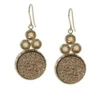 VicenzaGold Drusy Quartz and Gemstone Drop Earrings 14K