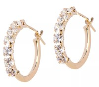 Diamonique Petite Polished Hoop Earrings, 14K Gold - Page ...