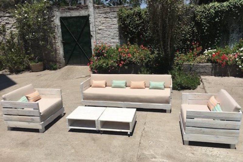 Juego de living de terraza de pallet Sole - TerrazaChic - Terrazas Con Palets
