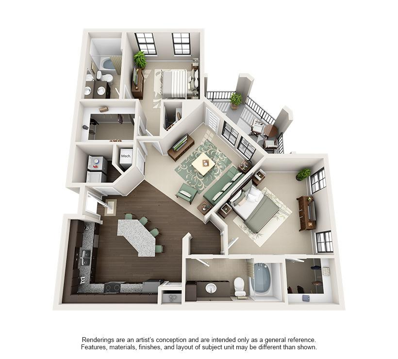 The Elizabeth is the largest floor plan that Elizabeth Square has to
