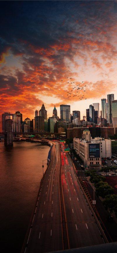 Sunset over Manhattan Bridge iPhone X Wallpaper Download | iPhone Wallpapers, iPad wallpapers ...