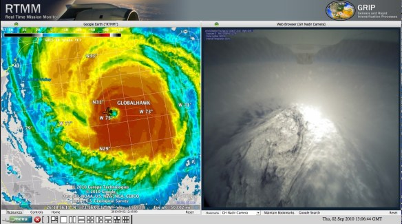 NASA Globalhawk crossing Hurricane Earl 09-02-2010