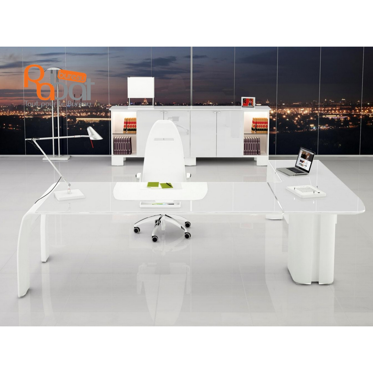 Bureau De Direction Design Blanc Bureau De Direction En Verre Blanc