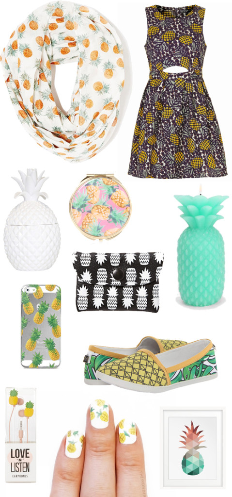 Round Wood Mirror Summer Trend: Pineapple Print - Rabbit Food For My Bunny Teeth