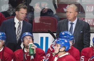 Montreal Canadiens head coach Michel Therrien, right, and assistant coach Kirk Muller look on from the bench during first period NHL pre-season hockey action against the New Jersey Devils, in Montreal on Monday, September 26, 2016. THE CANADIAN PRESS/Graham Hughes