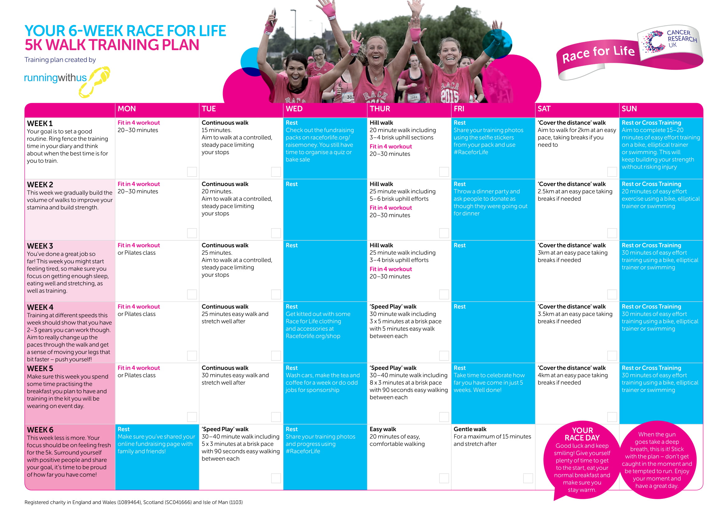 Couch To 5k Xls 5k Training Plans Race For Life Cancer Research Uk