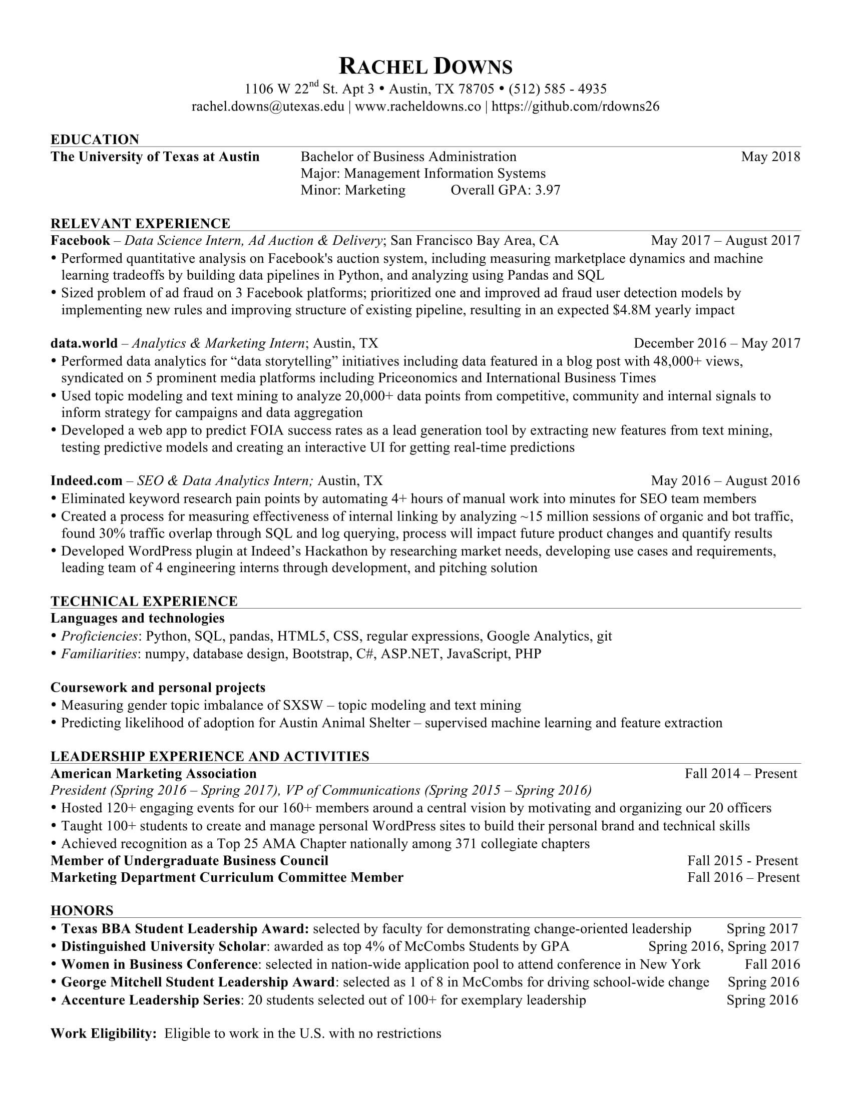 Rachel Downs  Machine Learning Resume